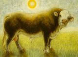 No title (cow on wheat field under yellow sun)